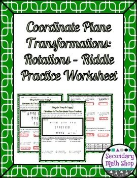 Printables Transformations In The Coordinate Plane Worksheet to the planes and student on pinterest transformations coordinate plane rotations riddle practice worksheetthis is a 15 worksheet that assesses