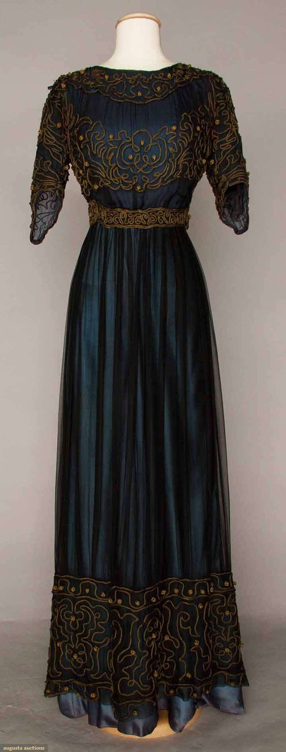 Navy and brown . C. 1905 Afternoon Dress Marine blue silk & chiffon dress with gold soutache
