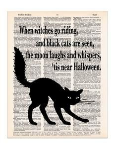Halloween Black Cat Poem, Dictionary Print #CatPhotography