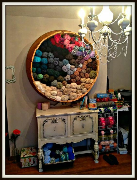 Yarn organization...an old write cable holder ..great idea!  Wouldn't be too difficult to DIY either.