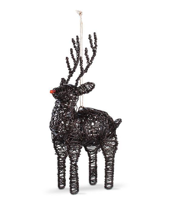 Black wire reindeer ornament
