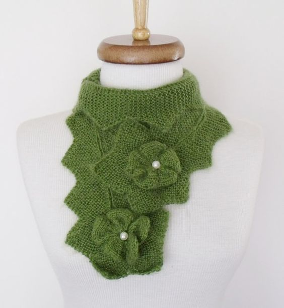 Green Star Mohair ScarfReady for shipping by knittingshop on Etsy, $30.00