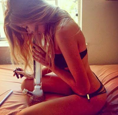 beautiful naked girl smoking weed