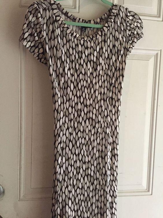 Dress Women's Perceptions Petite Size 10P White Brown Geometric Cap Sleeves #Perceptions #Sheath #Casual