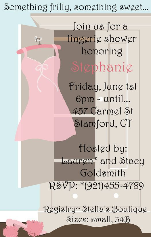 Armoire Lingerie Shower Invitation