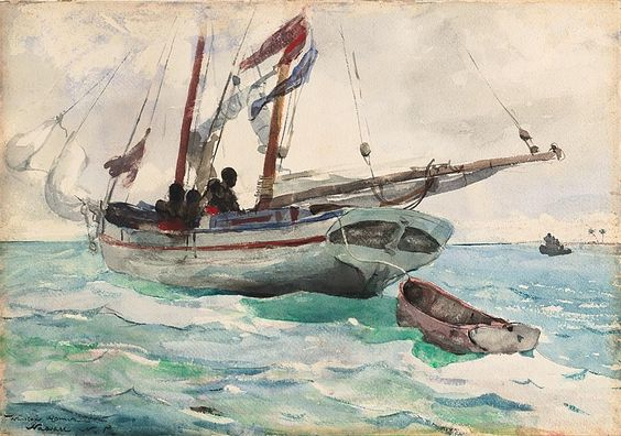 Winslow Homer,  American, 1836-1910,   Schooner - Nassau, 1898/99.   Transparent watercolor, with traces of opaque watercolor, rewetting, blotting...