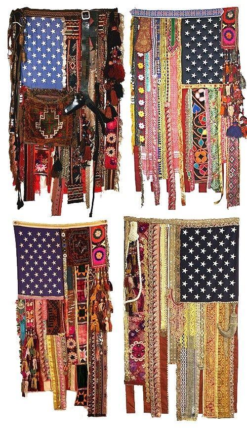 boho scrap fabric American flags