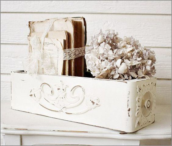 A vintage sewing machine drawer that has been shabbied to perfection. Could it be more perfect?: