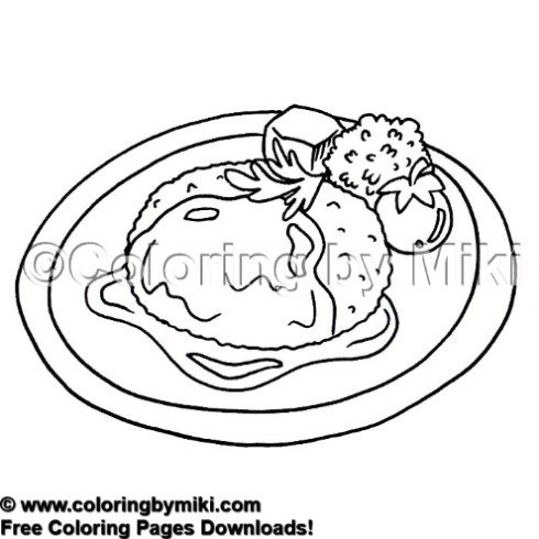 Delicious Meals Salisbury Steak Coloring Page 2054 Coloring
