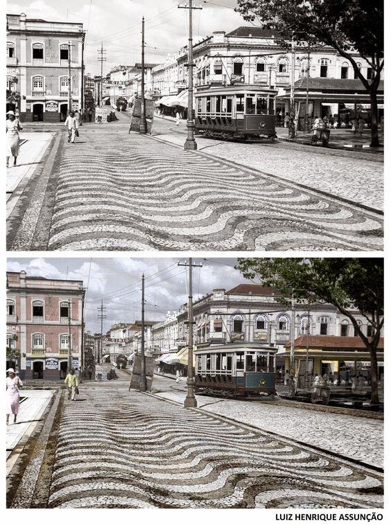 1935. A saída do bonde da João Alfredo, colorida por um colaborador de Belém Antiga ~ Belém Antiga