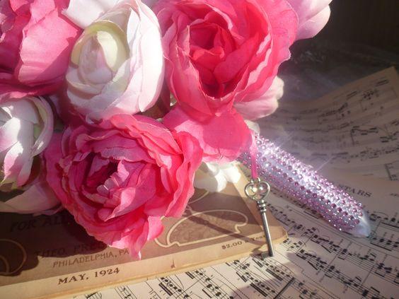 Peonies, Wedding Flowers with Skeleton Key