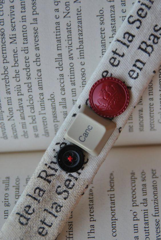 Braccialetto stoffa bianco stampa francese bottone di comivishop