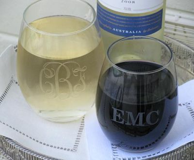 Stemless Monogrammed wine glasses. Great gift idea.