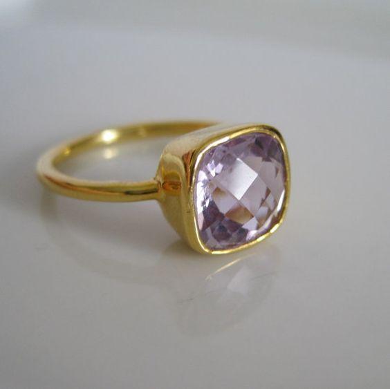 Purple Quartz Gold Ring