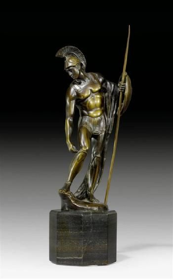 A bronze figure of a classical warrior by Max Valentin | Blouin Art Sales Index