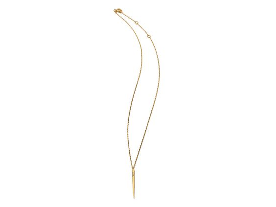 Subtly adorned with handset Swarovski crystals, this smallspike necklace is an edgy yet sophisticated addition to your everyday look.Available in your choice of gold or silver.