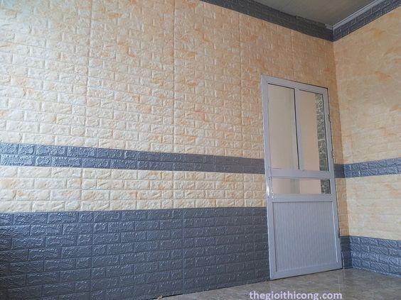 xốp dán tường giả đá màu vàng