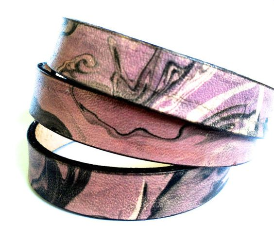 Leather 3Wrap Bracelet Cuff in Faded Plum by LoveThatLeather