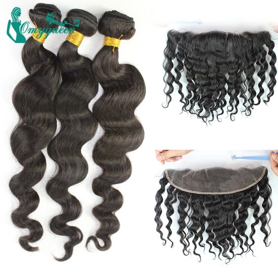 233.00$  Watch here - http://ali01q.worldwells.pw/go.php?t=32441356268 - 6A 13x4 Lace Frontal Closure With Bundles Vietnamese Virgin Hair With Closure Loose Wave Lace Frontal With Bundles Free Shipping