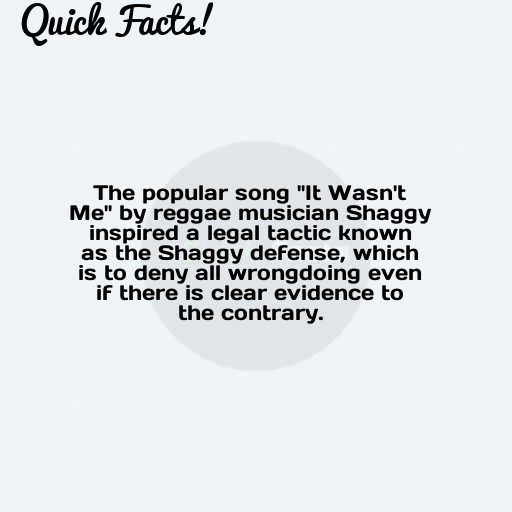 Quick Fact The Popular Song It Wasn T Me By Reggae Musician Shaggy Songs Facts Reggae
