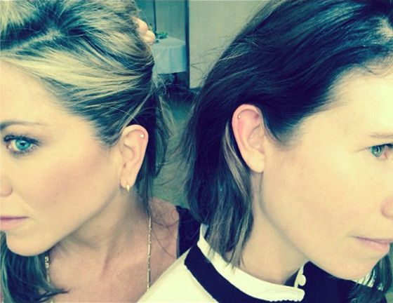 Jennifer Aniston gets a matching helix piercing with her bestie!