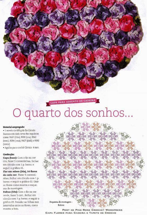 Eu Amo Artesanato: Capa Flores para Cadeira e Tapete em Crochê