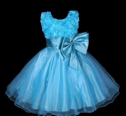 vestido infantil festa/princesa cinderela azul pink flores: