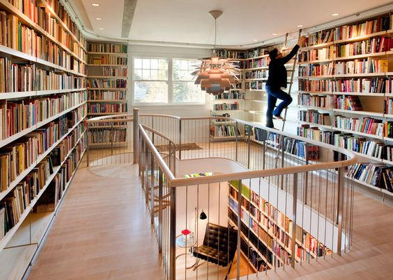 Multiple walls of books