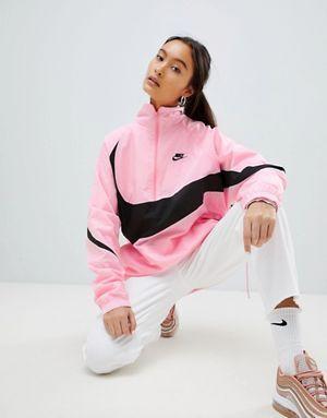 Nike Vaporwave Half Zip Track Jacket In Pink With Large Swoosh Nike Half Zip Track Jackets Long Coat Women