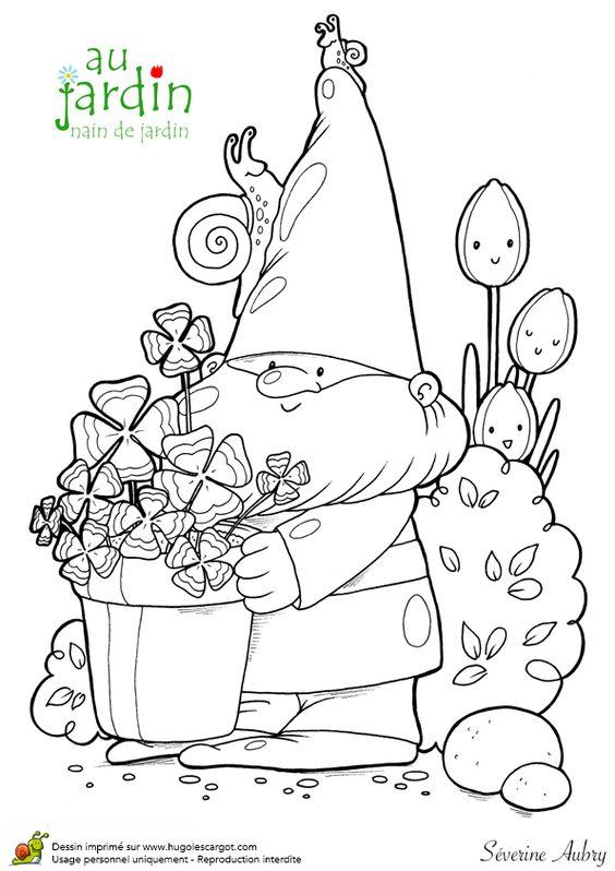 A colorier le nain de jardin avec un joli pot de fleurs for Jardin dessin
