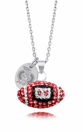 Officially Licensed Ohio State Buckeyes Sterling Silver and Swarovski Crystal Football Necklace. $59
