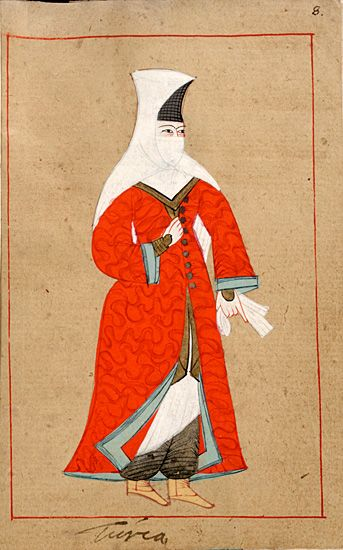 "Turkish woman ""Turca"". The 'RÃ¥lamb Costume Book' is a small volume containing 121 miniatures in Indian ink with gouache and some gilding, displaying Turkish officials, occupations and folk types. They were acquired in Constantinople in 1657-58 by Claes RÃ¥lamb who led a Swedish embassy to the Sublime Porte, and arrived in the Swedish Royal Library / Manuscript Department in 1886."