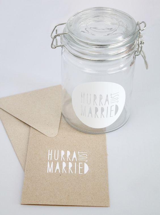 Geldgeschenke - Bügelverschlussglas + Karte *HURRA, JUST MARRIED* - ein Designerstück von Braut-Braeutigam bei DaWanda