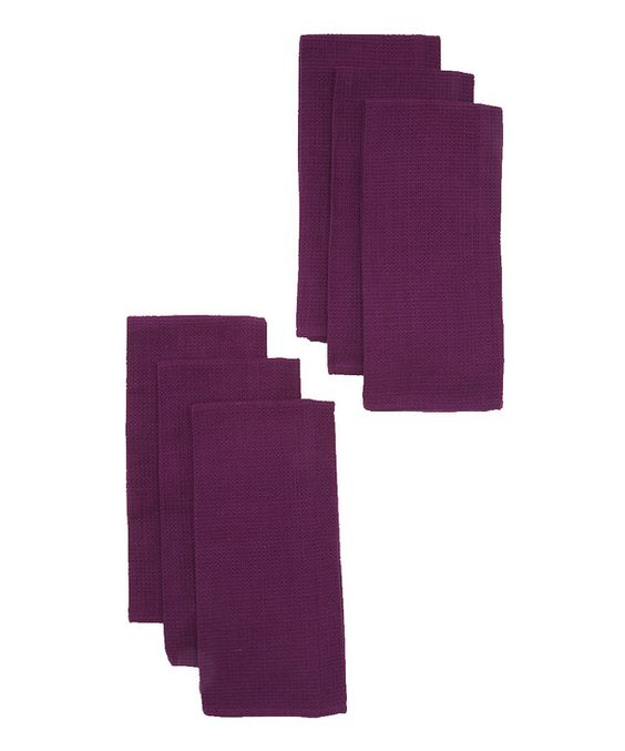 Take a look at this Design Imports Violet Night Waffle Kitchen Towel - Set of Six on zulily today!