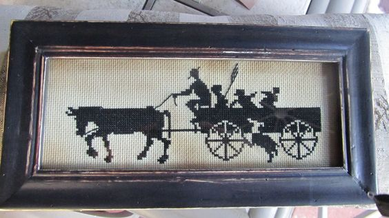 Amish Horse and Cart Stitchery - pinned by pin4etsy.com