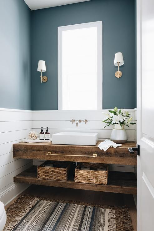 Reclaimed Wood Sink Vanity With Vessel Sink Cottage Bathroom Cottage Bathroom Bathroom Interior Rustic Powder Room