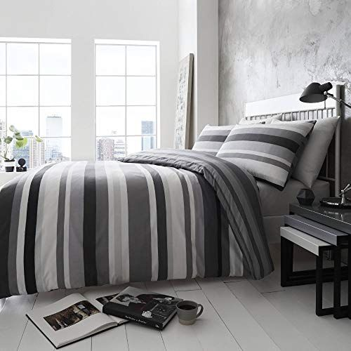Happy Linen Company Simply Stripes Black Charcoal Grey White Uk Super King Us King Reversible Duvet Cove Reversible Duvet Covers Bed Frame Mattress Uk Mattress