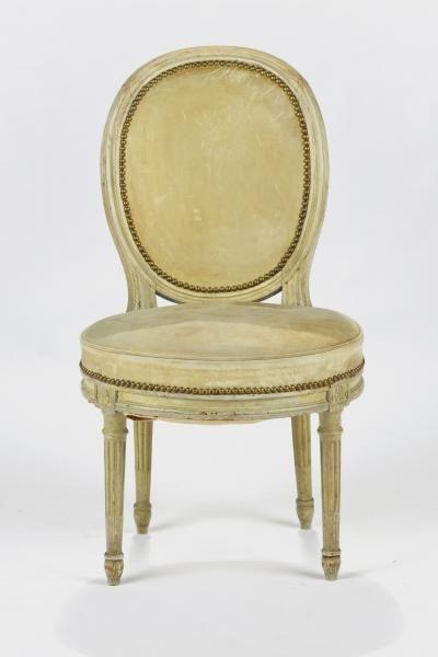 Chaise à dossier médaillon d'époque Louis XVI - Bois laqué gris - Prix de[...]…