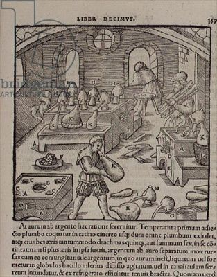 Glass blowing, from a Book of Trades, 1542 (engraving), German School, (16th century) / Private Collection / The Stapleton Collection / The Bridgeman Art Library