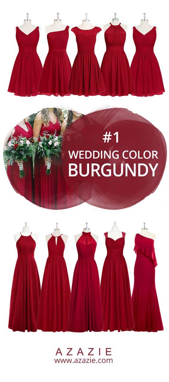 Azazie Burgundy Swatch (in 6 fabrics) Red, chiffon, mesh, lace, tulle, satin Bridesmaid dress, Wedding, Wedding gown