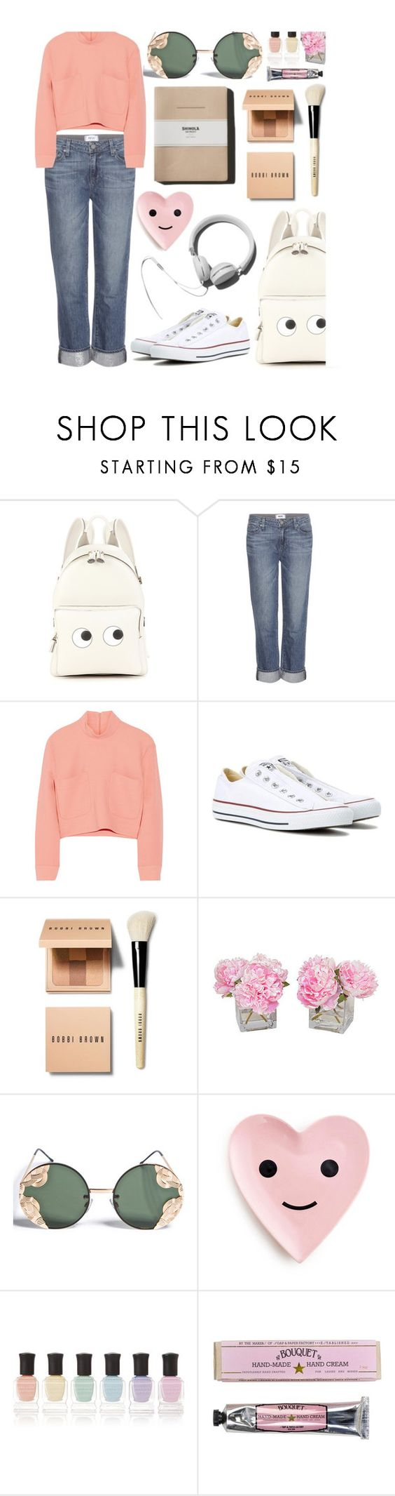 """Untitled #545"" by mlka ❤ liked on Polyvore featuring Anya Hindmarch, Paige Denim, Issa, Converse, Bobbi Brown Cosmetics, The French Bee, Spitfire, Garance Doré, Deborah Lippmann and Soap & Paper Factory"