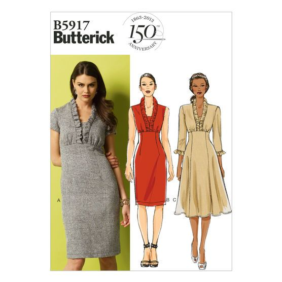 Visit the pattern department in store to browse our patterns available in store.Dress has ruffles, semi-fitted, lined bodice and inset, raised waist and back zipper. A: self-lined sleeves. A and B: se