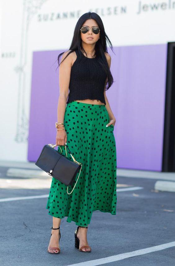 black cropped tank + green and black polka dot midi skirt + black and nude heels