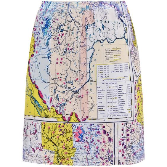 Wear this & be the talk of any travel themed party... {Carven Map-print skirt found on Polyvore}