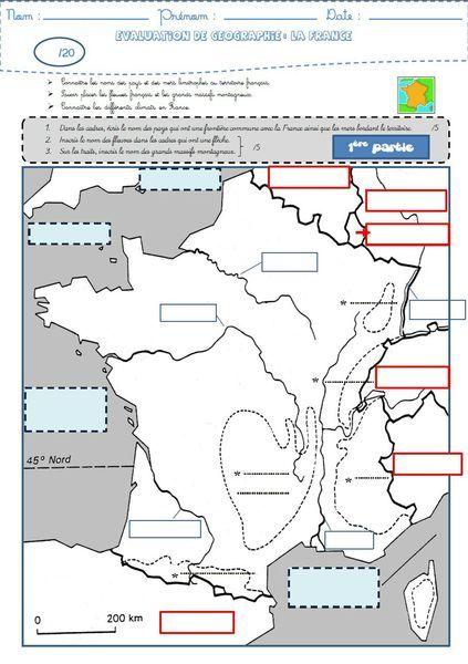Géographie : une évaluation sur la France (frontières, fleuves, reliefs et climats)