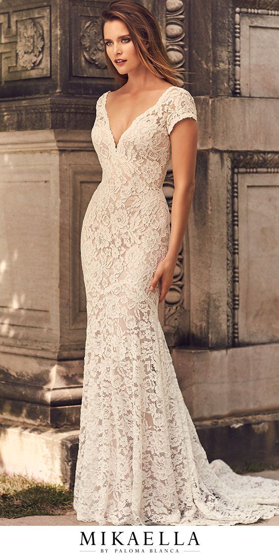 Mikaella Wedding Dress Necklines Lace Dress With Sleeves