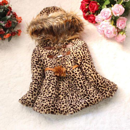 Baby Girls Faux Fur Leopard Hoodies Jacket Kids Snowsuit Warm Winter Coat 5-6Yrs