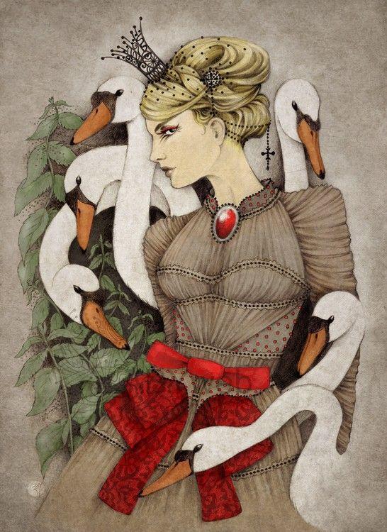 cygne princesse conte grimm freres oie blanc rouge