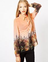 Orange Lapel Long Sleeve Landscape Print Blouse - Sheinside.com