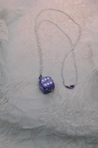 Vintage Purple and White Die with Silver Spacer Bead Pendant Necklace with Violet Anodized Titanium Lobster Closure and Fine Silver Chain by ErinRoseDesign on Etsy